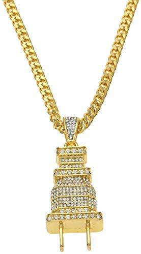 YZXYZH Collar con Colgante De Enchufe Brillante De Hip Hop para Hombre, Encantos De Color Dorado, Collar De Joyería con Diamantes De Imitación Completa Micro Pave, Gargantilla