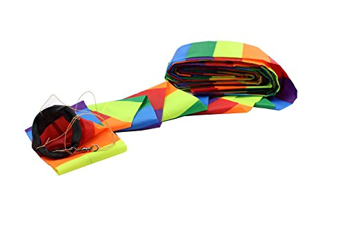 Comcrosfly Rainbow Kite Tube Tail Outdoor Windsock with Connector?65-Feet Kite Tail