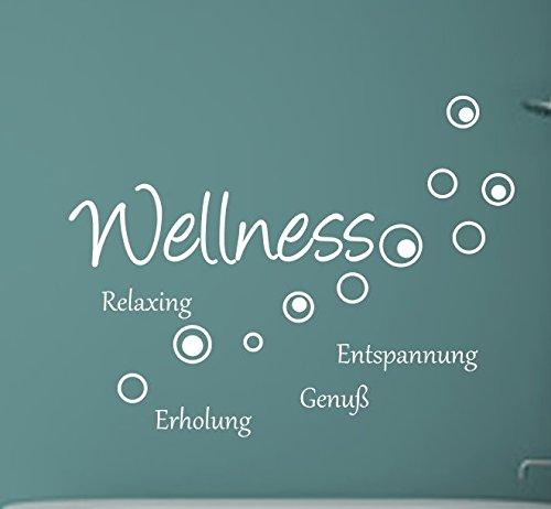 Wantattoo Wandaufkleber Wellness...Schriftzug in drei Größen und 21 Farben zur Wahl