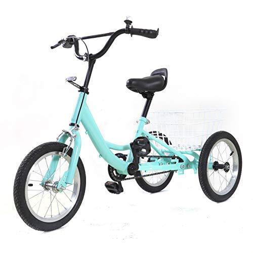 OUKANING Bicicleta de Triciclo para niños de 14 Pulgadas, Bicicleta para Jugar en Bicicleta, Bicicleta para niños con Cesta de Compras