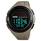SKMEI Men's Solar Digital Sports Watch, 50M Waterproof Military Outdoor Watches Black Large Face with Stopwatch Alarm Shock Resistant LED