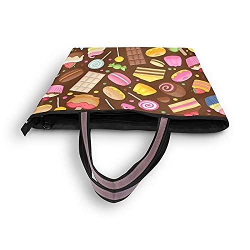 NaiiaN Bolsos de hombro Donut Chocolate Cupcake Lollipop Tote Bag Ligero Correa Bolsos Monedero Compras para madres Mujeres Niñas Señoras Estudiante