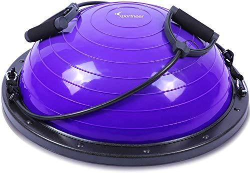 Sportneer Plataforma de Equilibrio de Bola de Equilibrio Banda de Resistencia para Bomba de bonificación de Entrenador de Equilibrio para Fitness de Yoga, Ejercicio de Equilibrio (Violeta)