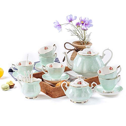 Best Deals! Porcelain Tea Service, Set of 6 European Style Bone China Service Coffee Set Afternoon T...