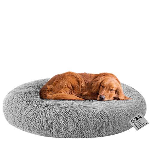 Decdeal Haustierbett für Katzen und Hunde Rundes Plüsch Hundebett Katzenbett in Doughnut-Form Farbe und Größe Optional (Durchmesser 80cm, hellgrau)