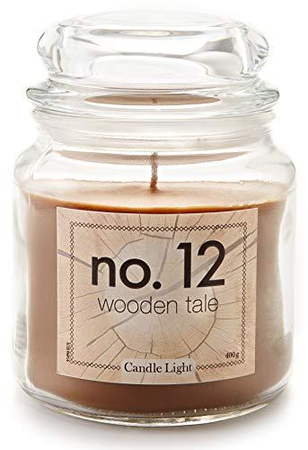 HEITMANN DECO Candle Light No.12 - Duftkerze im Glas mit Deckel - großes Windlicht - Duft: Wooden Tale
