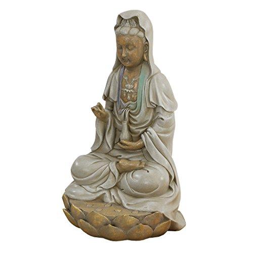 Design Toscano EU1017 Asian Goddess Guan Yin Seated on Lotus Outdoor Garden Statue, 12 Inch, full color