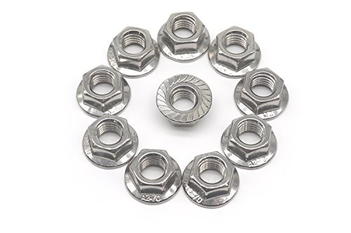 10 PCS by Eastlo Fastener Bright Finish,304 Stainless Steel 18-8 M12 Serrated Flange Hex Lock Nuts