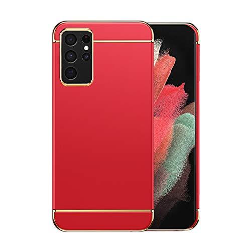 Funda Samsung S21 Ultra 5g Case,Fundas Samsung Galaxy S21 Ultra Antigolpes Carcasa Diseño Minimalista Estuche Rígido Ultra Original Delgado de PC a Prueba (Samsung S21 Ultra, Rojo)