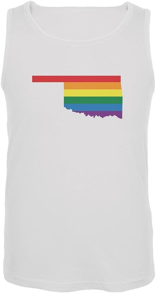 Oklahoma LGBT Gay Pride Rainbow White Adult Tank Top