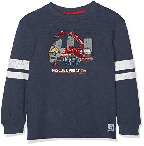 Salt & Pepper Jungen Sweat Fire Chief Uni Sweatshirt, Blau (Dark Blue Melange 492), 116