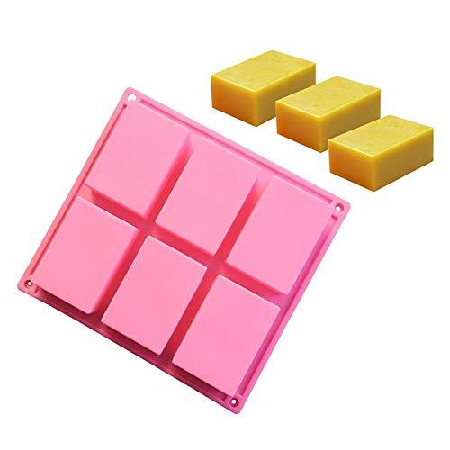 Aliciër 6-holtes rechthoek ambachtelijke zeep mal siliconen mal voor zelfgemaakte taart en ijsblokjes huisdecoratie