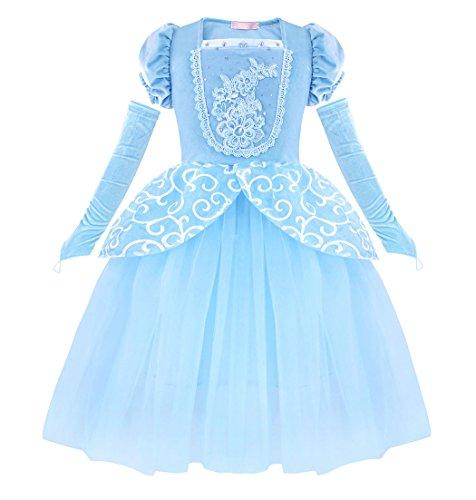 AmzBarley Aschenputtel Kostüm Kinder Mädchen Cinderella Prinzessin Kleid Schick Party Kleider Halloween Karneval Cosplay Geburtstag Ankleiden Kleidung, Blau 03, 5-6 Jahre