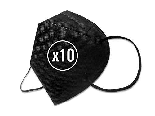 KMINA - Masken Mundschutz FFP2 Schwarz (10 Stück), FFP2 Maske Schwarz, Mund und Nasenschutz FFP2, Schutzmasken FFP2, Einwegmasken, Made in Europe.