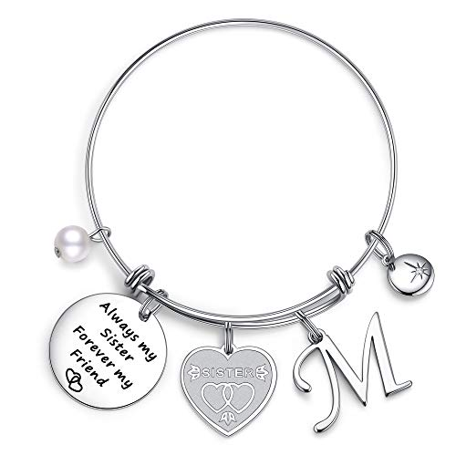 IEFIL Sister Gifts from Sister Bracelets, Stainless Steel Always My Sister Forever My Friend Sister Charm Bracelets Expandable Friendship Bangle Bracelets Sister Jewelry Gifts for Birthday M bracelets