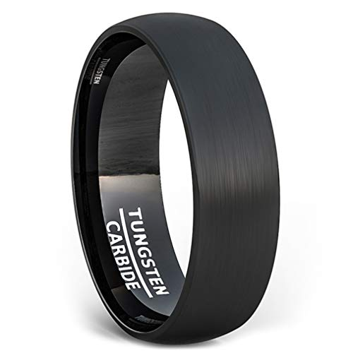 Duke Collections 6mm Black Tungsten Ring Matte Brushed Simple Classic Mens Wedding Band or Fashion Rings Dome Shape Comfort Fit (9.5)