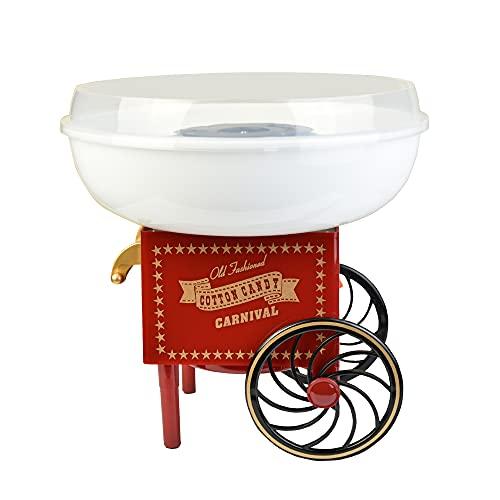 Gadgy ® Macchina per Zucchero Filato Carello | Cotton Candy Machine | Usa Regolarmente Zucchero Normale o Caramelle | Festa Compleanni Bambini | Rosso Bianco