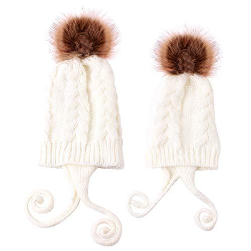 Haokaini Conjunto de Sombreros para mamá y bebé Gorro de Invierno cálido...