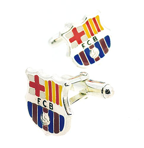 Gemelolandia | Gemelos para Camisa plata de ley Esmaltada FC Barcelona Producto Oficial Gemelos Originales Para Camisas | Para Hombres y Niños | Regalos Para Bodas, Comuniones y Otros Eventos