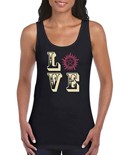 Comedy Shirts - Love - Pentagramm - Damen Tank Top - Schwarz/Beige-Fuchsia Gr. M