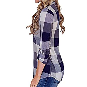 Goddesslili Womens Tops, V Neck Sexy Plaid Print Long Sleeve Sweatshirt Blouses for Girls Ladies Casual Office Wear, Back to School Supplies, Multi Colors
