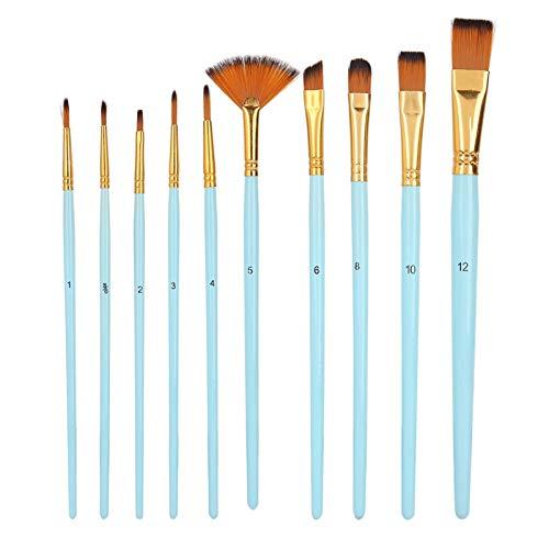 Juego de pinceles de pintura de pelo de nylon Kit de pincel de dibujo para estudiantes para pintura al óleo para artista (azul claro)