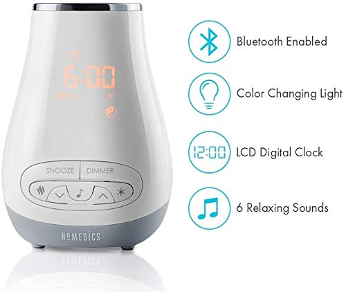Slumber Scents Alarm Clock, Essential Oil Diffuser & White Noise Machine | 6 Soothing Sounds, LED Lights, Auto-Off Timer, Bluetooth | BONUS- 3 ESSENTIAL OILS, Aromatherapy | SoundSpa HoMedics