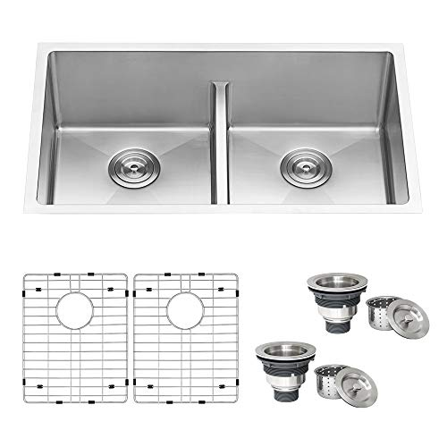 Ruvati 32-inch Low-Divide Undermount Tight Radius 50/50 Double Bowl 16 Gauge Stainless Steel Kitchen Sink - RVH7411