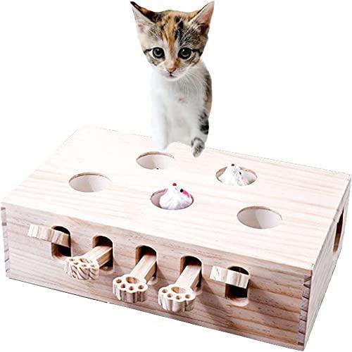 pearpark 猫 おもちゃ 猫じゃらし 木製 モグラ叩き ネコ ねこのおもちゃ 厳選木材使用 安全素材 木箱 ねこじゃらし ペット マウス ネズミ 知育玩具 ペットグッズ 自分で遊ぶ好奇心をくすぐる もぐらたたき 運動不足 ストレス解消