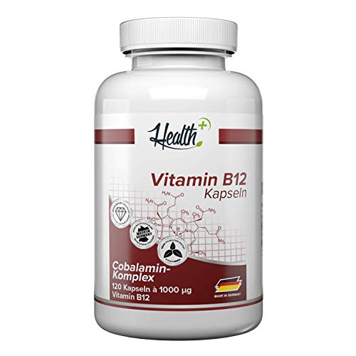 Health+ Vitamin B12 - 120 Kapseln, hochdosierte Vitamin Kapseln mit 1000 mcg Cobalamin-Komplex, Nahrungsergänzungsmittel, Made in Germany