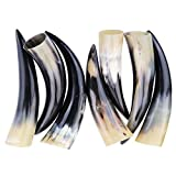AnNafi SET OF 8 ORIGINAL HANDCRAFTED NATURAL BULL HORNS I COW HORN SET LARP SCA I ALE – MEDIEVAL AUTHENTIC VIKING DRINKING HORN I CURVED STYLE HORNS