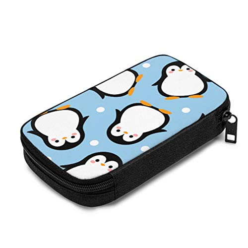 Charging Cable Storage Bag Cartoon Penguin Happy Small Cable Organizer for Various USB Cables Earphone Charger Travel Office Colored Cable Organizer