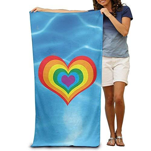 KsimYa Toallas de bañoToallas de baño Toallas de baño de Playa súper absorbentes para Gimnasio, SPA de Playa 80X130Cm Rainbow Heart LG-BT