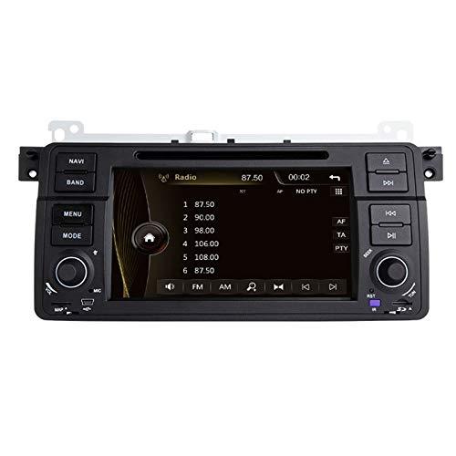QIQIDIAN Autoradio Mit Navi GPS Navigation Touchscreen Multimedia-Player Kompatibel Mit B-MW E46 M3 Rover 75 Coupé 318/320/325/330,Schwarz