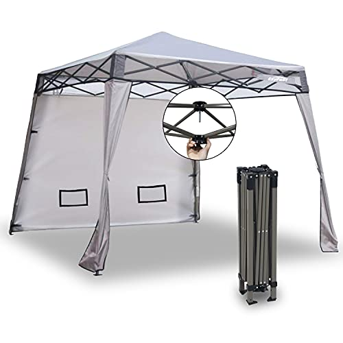 EzyFast Elegant Pop Up Beach Shelter, Compact Instant Canopy Tent, Portable Sports Cabana, 7.5 x 7.5 ft Base / 6 x 6 ft top for Hiking, Camping, Fishing, Picnic, Family Outings (6 x 6, A Khaki)