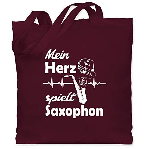 Shirtracer Instrumente - Mein Herz spielt Saxophon - Unisize - Bordeauxrot - Fun - WM101 - Stoffbeutel aus Baumwolle Jutebeutel lange Henkel