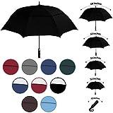 Windproof Travel Umbrella, Wind Resistance Parasol with Flexible Fiberglass Ribs, Waterproof Folding Umbrella with Double Canopy Design (Black, 1 Pack)