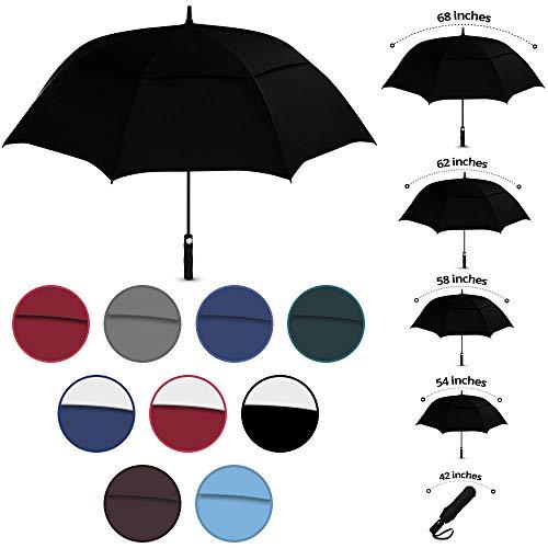 Viteps Windproof Travel Umbrella, Wind Resistance Parasol with Flexible Fiberglass Ribs, Waterproof Folding Umbrella with Double Canopy Design (Black, 1 Pack)