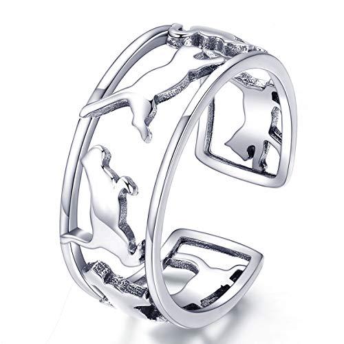 Reiko Katze Ring 925 Sterling Silber Einstellbare Ringe Mode Elegante Ringe, Geschenk für Frauen Mädchen,Geschenkbox