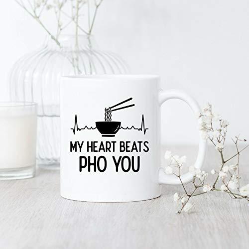 Funny Mugs - Taza de café con texto en inglés 'My Heart Beats Pho You', diseño de Pho