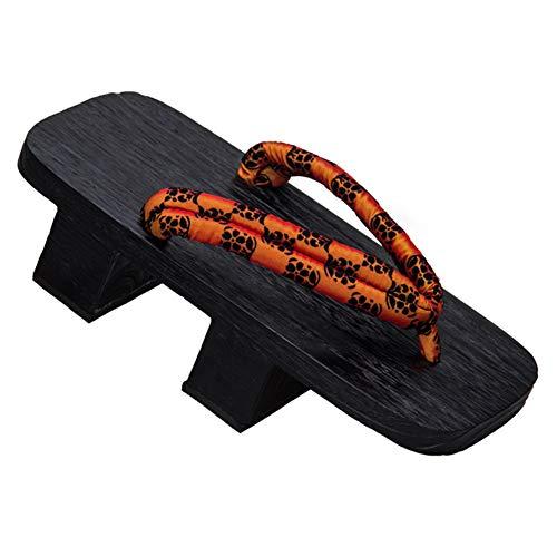 Sandalias japonesas tradicionales Kimono Geta para hombre Zapatos de zuecos de madera de dos dientes con suela ancha, naranja