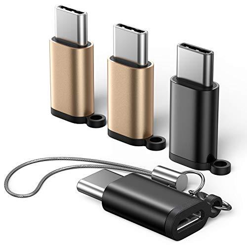USB C Adapter auf Micro USB [4 Pack] 56K Widerstand USB-C Stecker zu USB Micro Buchse Adapter für Samsung Galaxy S10 S9 S8 Note 8,OnePlus 2/3, LG G5 G6,Huawei,Sony Xperia XZ und Mehr Type C Geräte