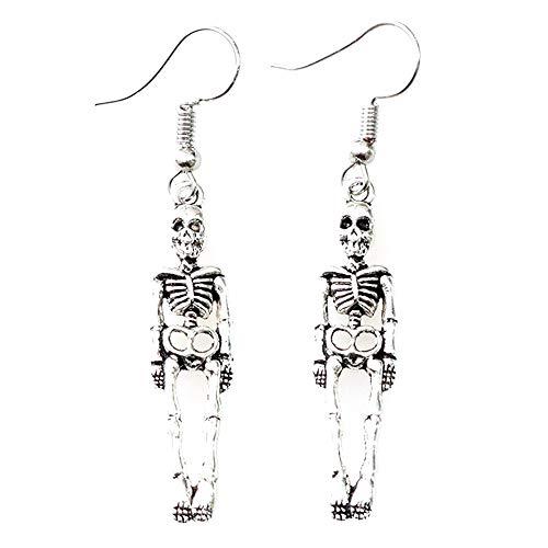 Pendientes gticos con diseo de calavera, estilo punk, de plata, para disfraz de Halloween