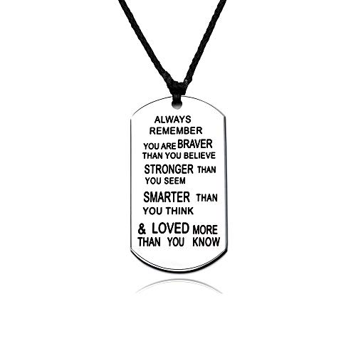 lauhonmin Always Remember You are Braver/Stronger/Smarter Than You Think Rope Pendant Necklace Family Friend Gift