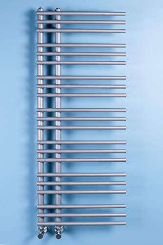 Wärmehaus Designer Handtuchheizkörper Badheizkörper 1270 x 500 mm Silber