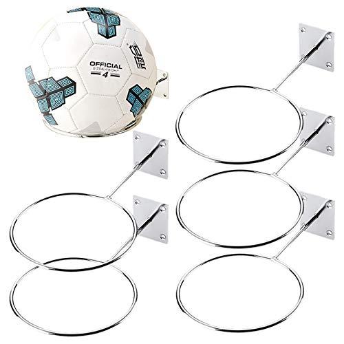 Ballhalter Wandhalterung für Sportbälle, Basketball, Volleyball, Fußball, Medizinball, silberfarben (14,2 cm)