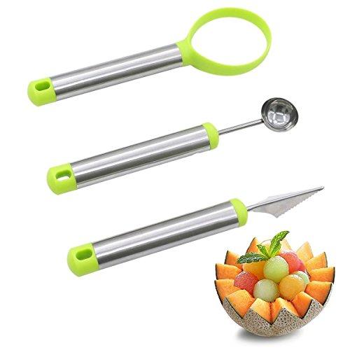 Lot de 3 Couteaux à Melon en Acier Inoxydable pour décoration de Fruits avec emporte-pièces et cuillère à Melon et éplucheur à Fruits