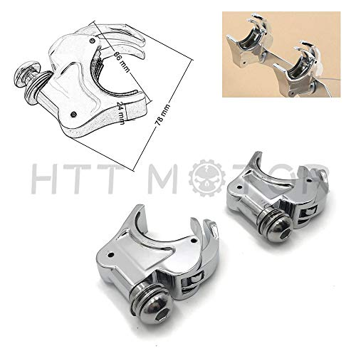 HTTMT MT447-003- 2X Chrome 39mm Forks Quick Release Windshield Clamps Compatible with Harley Dyna Sportster