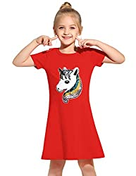 Red Cotton Short Sleeves Unicorn T-Shirt Dress