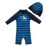 upandfast UV-Schutz einteiliger langärmliger Badeanzug mit Reißverschluss für kleine Jungen(Dunkelblau,3-6 Monate)